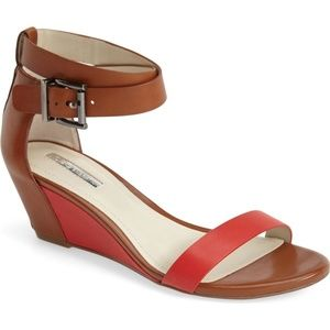 BCBG Vivian Sandal Wedge Red Brown Strappy 7.5